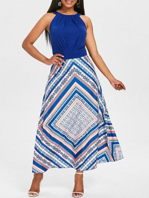Sleeveless Maxi Fit and Flare Dress - NAVY BLUE L