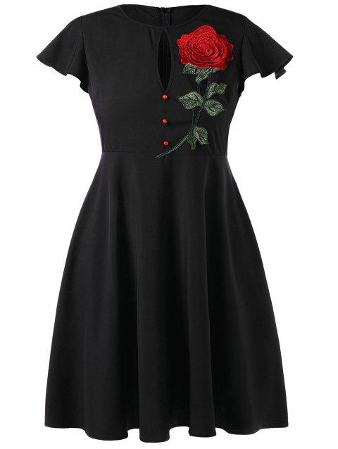 Plus Size Vintage Party Dress with Embroidered - BLACK 2XL