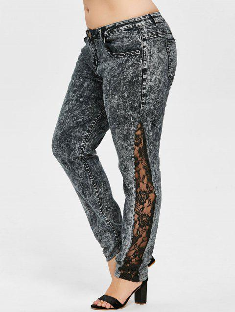 Plus Size Lace Insert Pencil Jeans - GRAY 3X