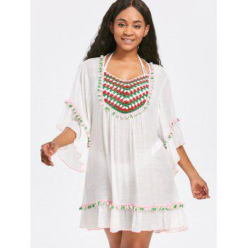 Bell Sleeve Crochet Pompom Tunic Cover Up - WHITE ONE SIZE