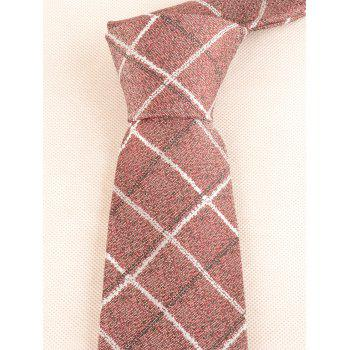 Vintage Plaid Pattern Silky Formal Necktie and Bowtie - LIGHT CORAL