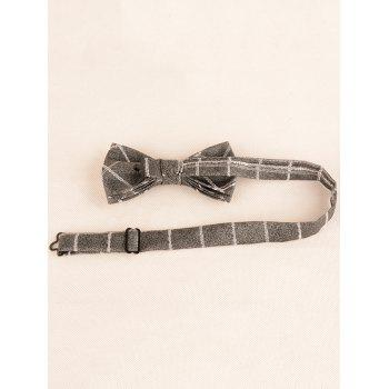 Vintage Plaid Pattern Silky Formal Necktie and Bowtie - CLOUDY GRAY