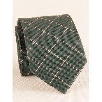 7CM Width Checked Pattern Neck Tie and Bowtie - DARK FOREST GREEN
