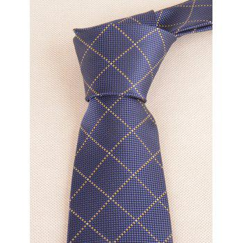 7CM Width Checked Pattern Neck Tie and Bowtie - NAVY BLUE
