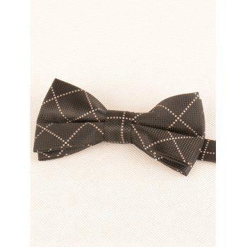 7CM Width Checked Pattern Neck Tie and Bowtie - BLACK