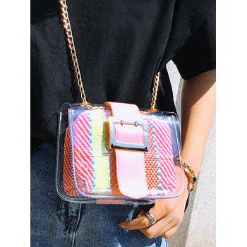 Chain Contrasting Color Lucid Crossbody Bag - LIGHT PINK