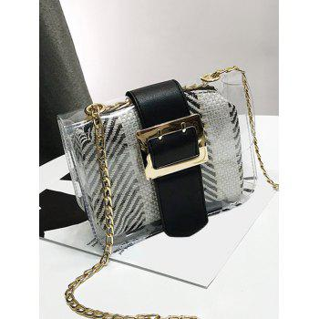 Chain Contrasting Color Lucid Crossbody Bag - BLACK