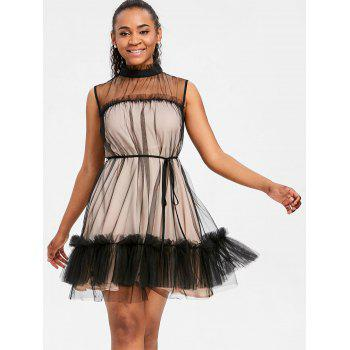 Ruffled Trim Sleeveless Tulle Dress - COLORMIX XL