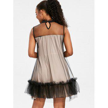 Ruffled Trim Sleeveless Tulle Dress - COLORMIX 2XL