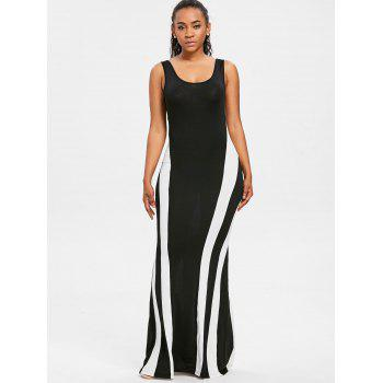 Color Block Maxi Tank Dress - BLACK M