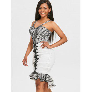 Lace Floral Mermaid Bodycon Dress - COLORMIX L