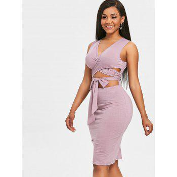 Plunging Cutout Sleeveless Dress - PURPLE XL