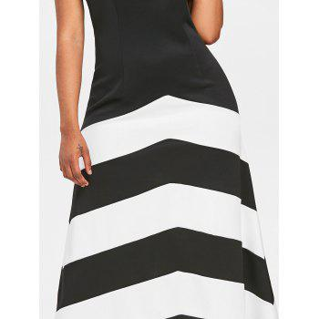 Stripe Panel Sleeveless Maxi Dress - BLACK M
