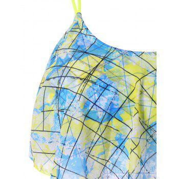 World Map Chiffon Overlay Bikini - LIGHT BLUE L