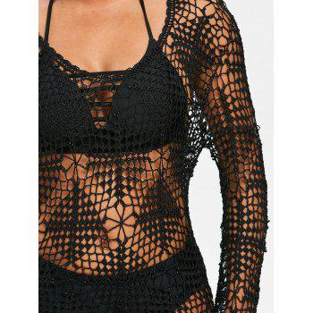 Crochet Long Sleeves Beaded Cover Up - BLACK ONE SIZE