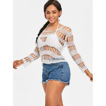 Beaded Crochet Hollow Out Cover Up - WHITE ONE SIZE
