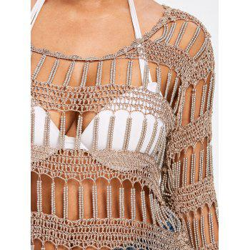Beaded Crochet Hollow Out Cover Up - DARK KHAKI ONE SIZE