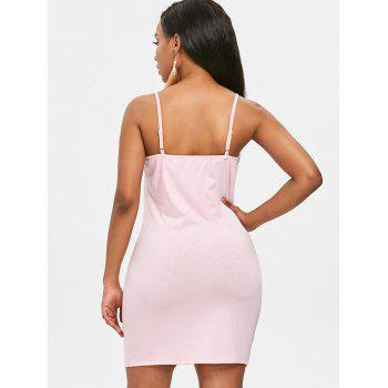 Bodycon Eyelet Lace Up Dress - LIGHT PINK L