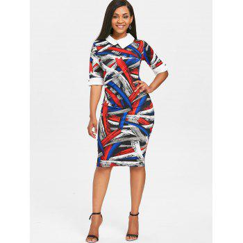 Half Sleeve Color Block Knee Length Dress - multicolor M