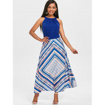 Sleeveless Maxi Fit and Flare Dress - NAVY BLUE XL