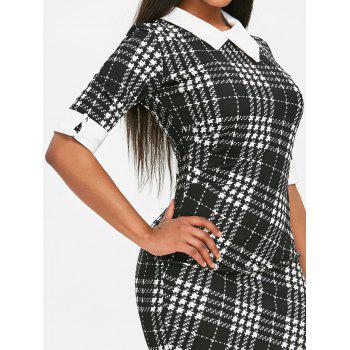 Houndstooth Print Half Sleeve Bodycon Dress - BLACK M
