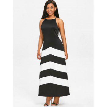 Stripe Panel Sleeveless Maxi Dress - BLACK S