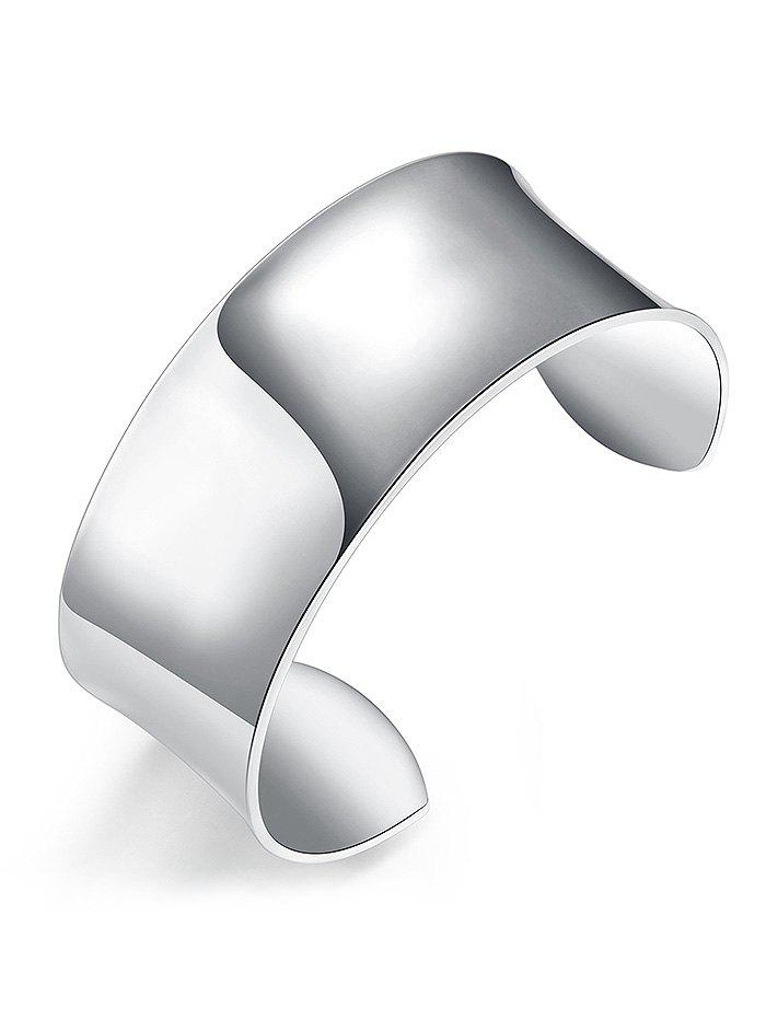 Cool Metal Alloy Round Cuff Bracelet - SILVER
