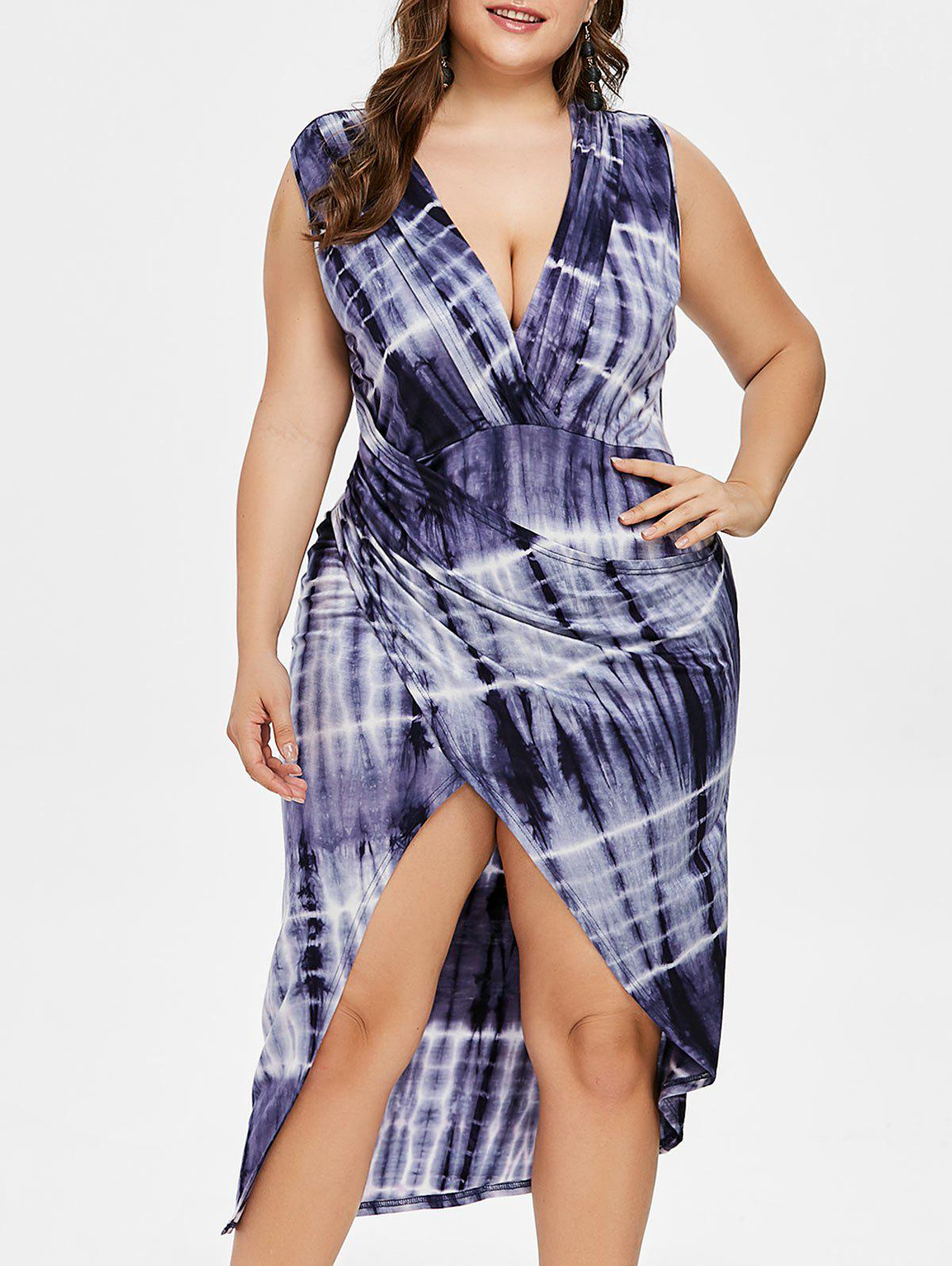 Plunge Tie Dye Plus Size High Low Dress - PURPLE 3XL