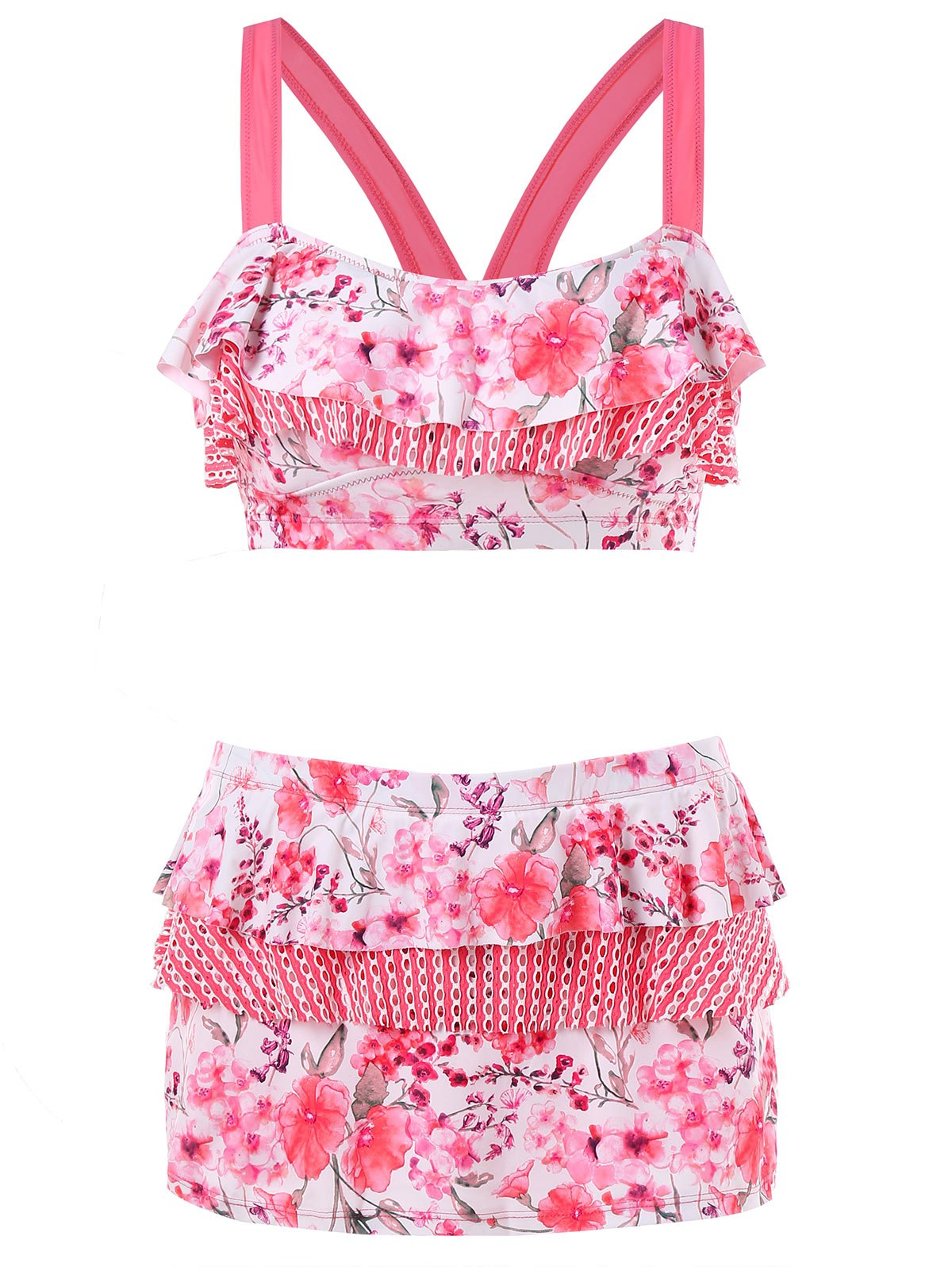 Blossom Printed Lace Panel Bikini - FLAMINGO PINK XL