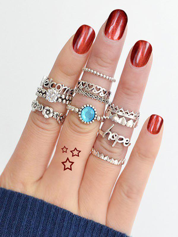 11Pcs Heart Flower Letter Rhinestone Band Rings Set - SILVER ONE-SIZE