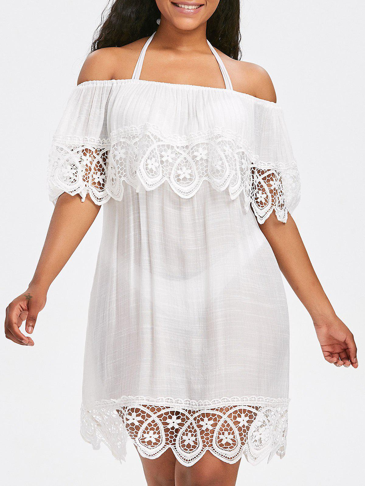 Lace Crochet Shift Beach Cover Up Dress - WHITE ONE SIZE