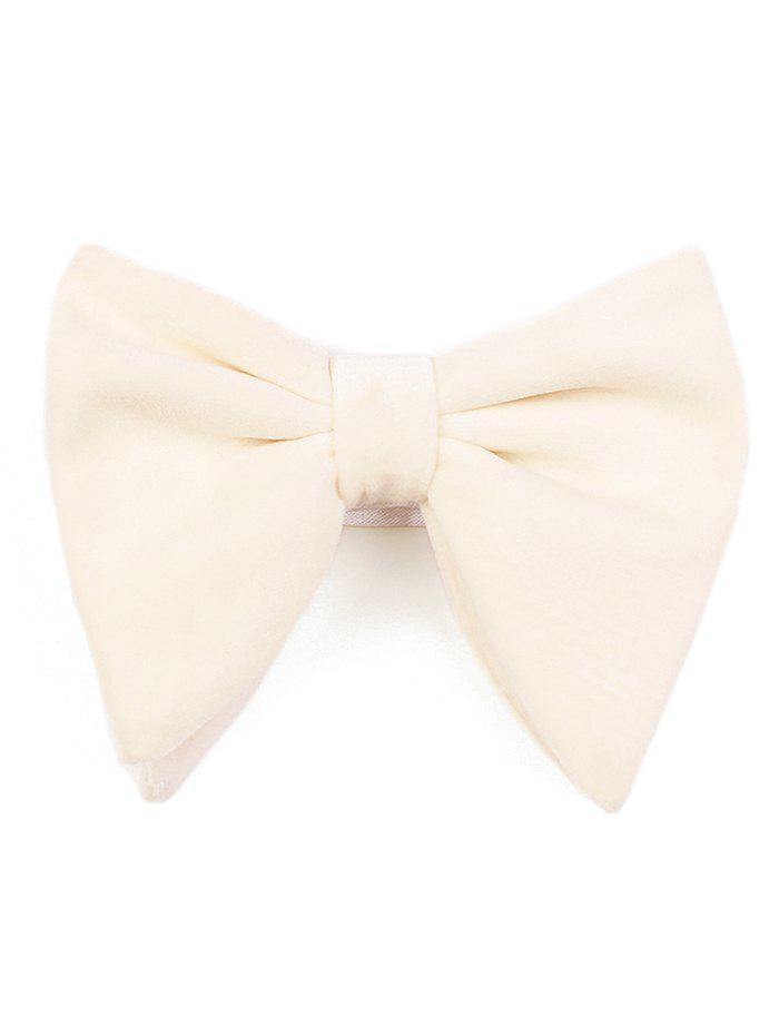 Vintage Solid Color Business Shirt Pre-tied Bowtie - MILK WHITE