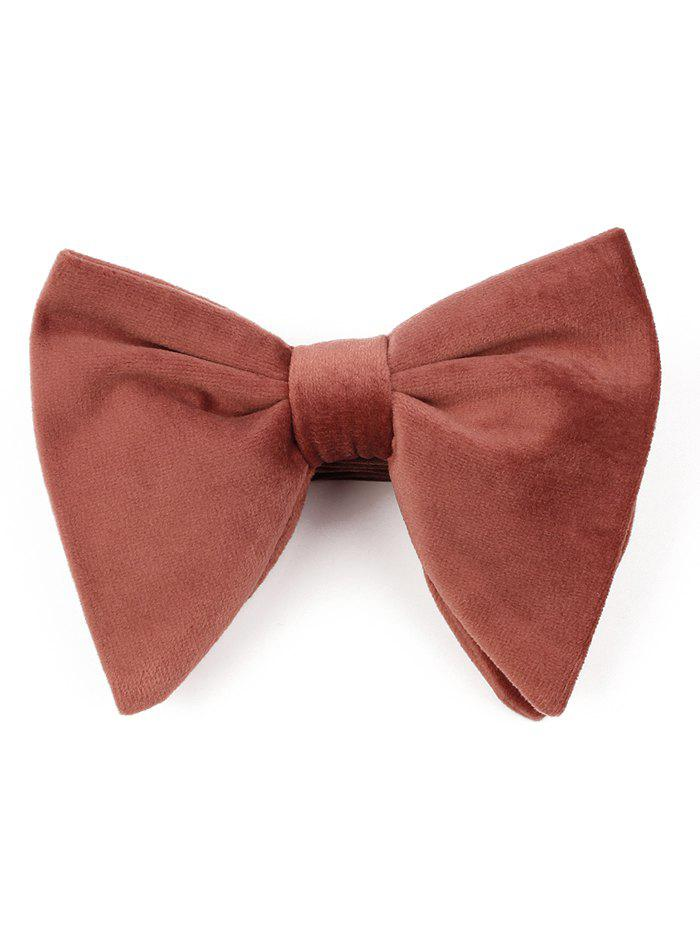 Vintage Solid Color Business Shirt Pre-tied Bowtie - BROWN