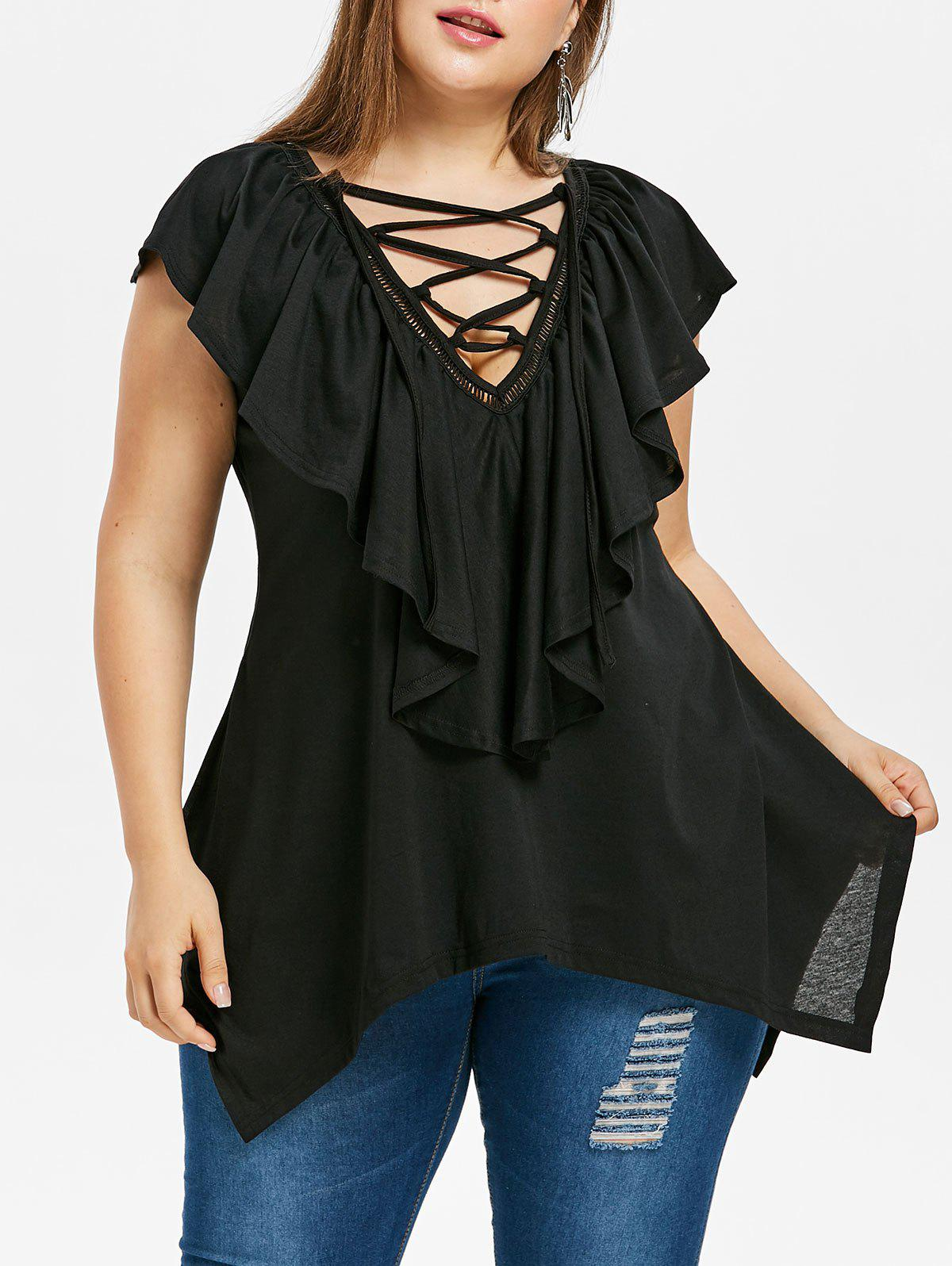 Plus Size Flounce Overlay Asymmetric T-shirt sleeveless plus size buttoned overlay shirt dress