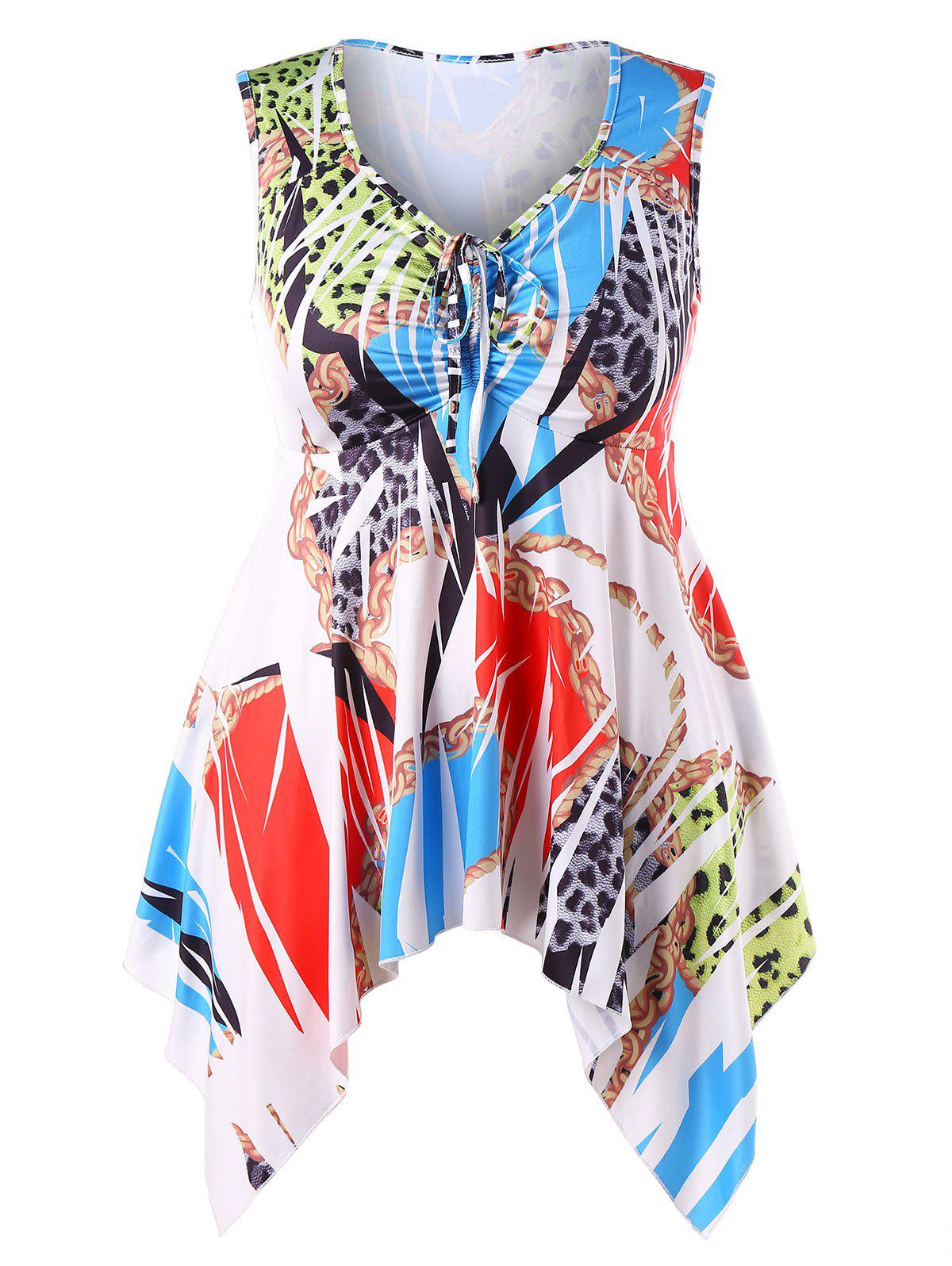 Plus Size Printed Handkerchief Tank Top - multicolor L