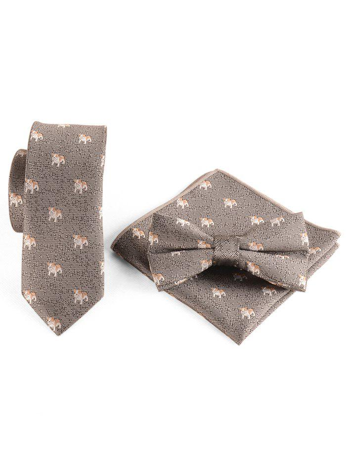 Cute Running Dogs Pattern Shirt Tie Bowtie and Handkerchief - BATTLESHIP GRAY