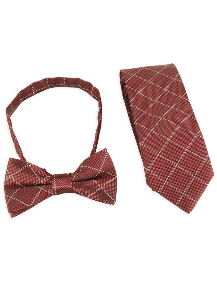 7CM Width Checked Pattern Neck Tie and Bowtie - RED WINE