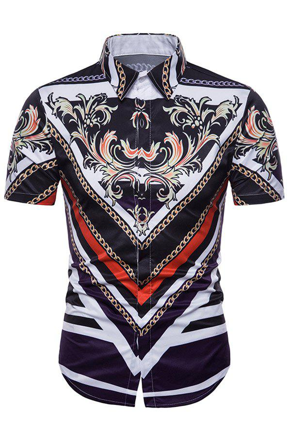 Turndown Collar Floral Chain Geometric Pattern Shirt