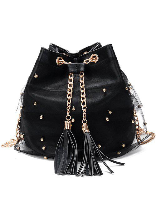Casual Tassel Faux Pearls Lace Crossbody Bag - BLACK