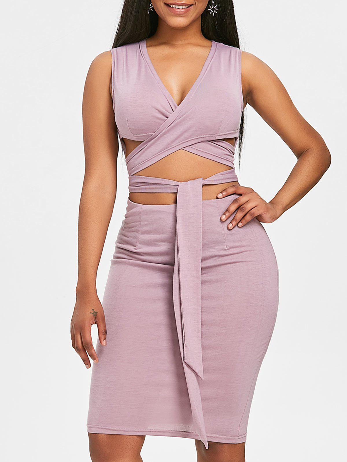 Plunging Cutout Sleeveless Dress - PURPLE M