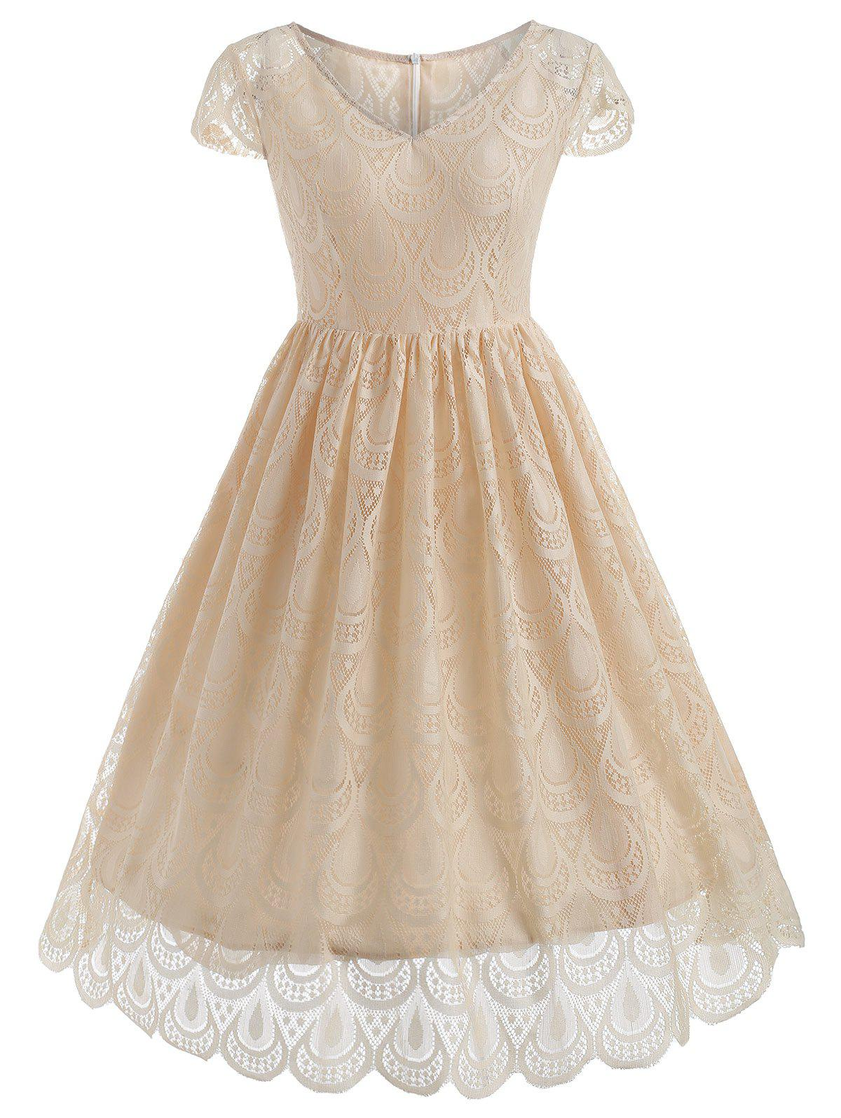 Scalloped Sleeve Lace Swing Dress - CORNSILK 2XL