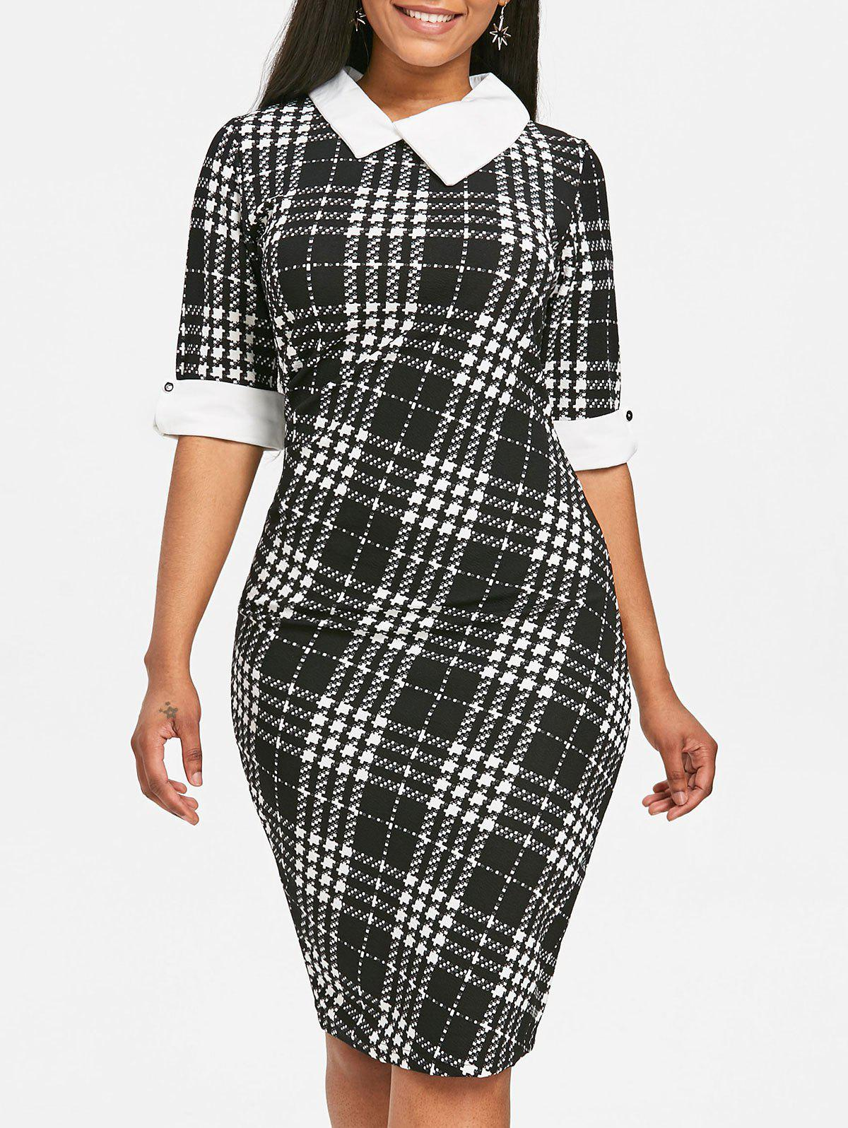 Houndstooth Print Half Sleeve Bodycon Dress - BLACK S