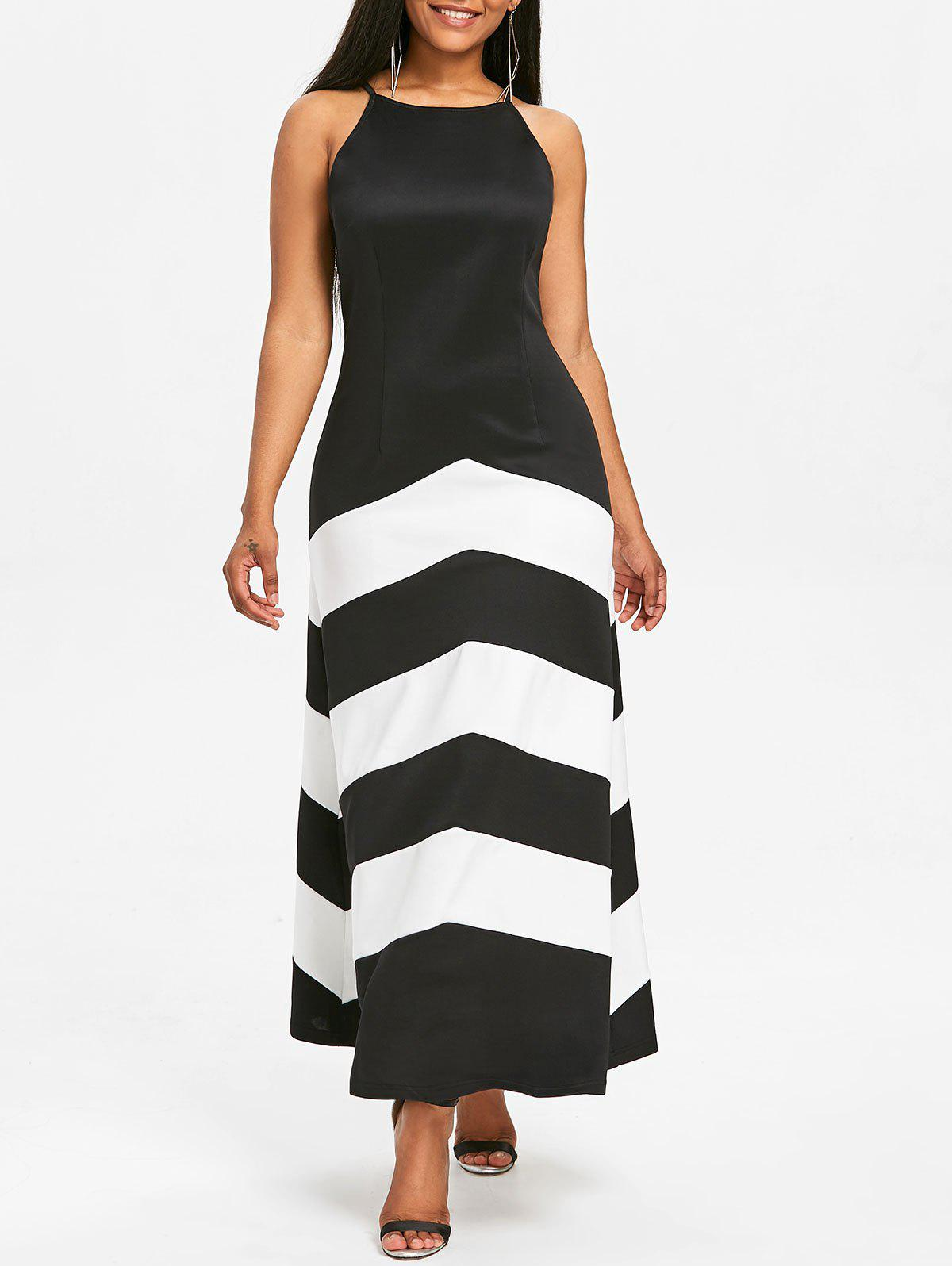 Stripe Panel Sleeveless Maxi Dress - BLACK XL