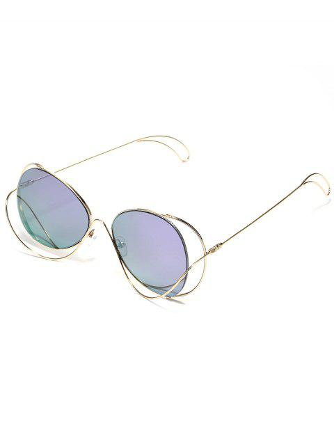Hollow Out Metal Full Frame  Beach Travel Sunglasses - VIOLET