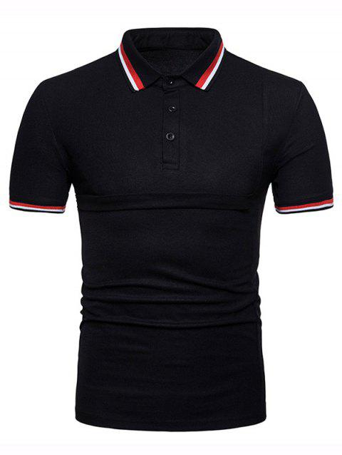Color Block Collar Patch Polo Shirt - BLACK M