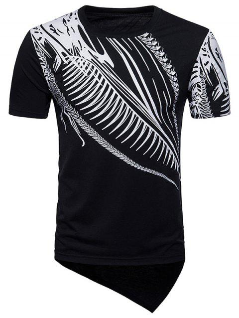 Short Sleeve Hip Hop Irregular Print T-shirt - BLACK XL