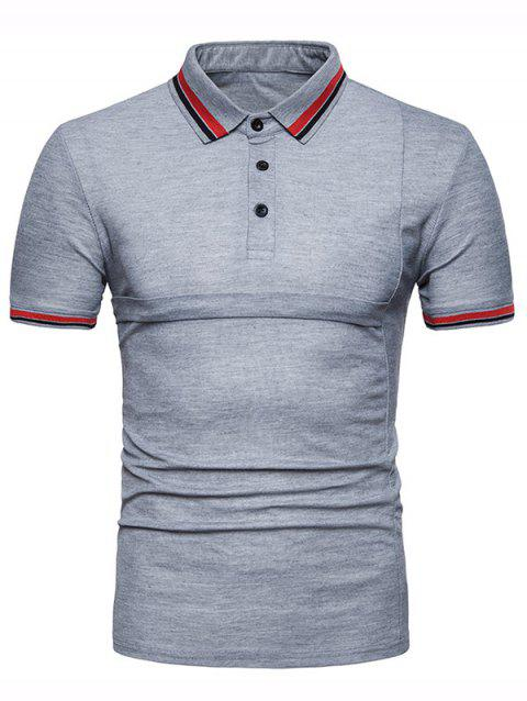 Color Block Collar Patch Polo Shirt - LIGHT GRAY L