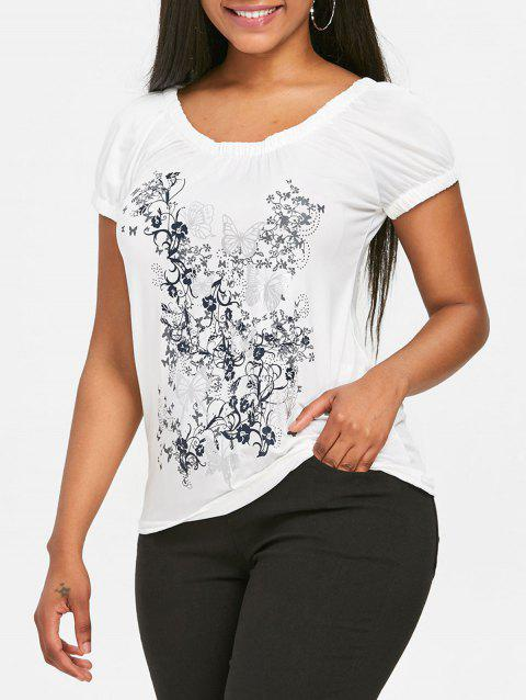 Short Sleeve Butterfly Print T-shirt - WHITE L