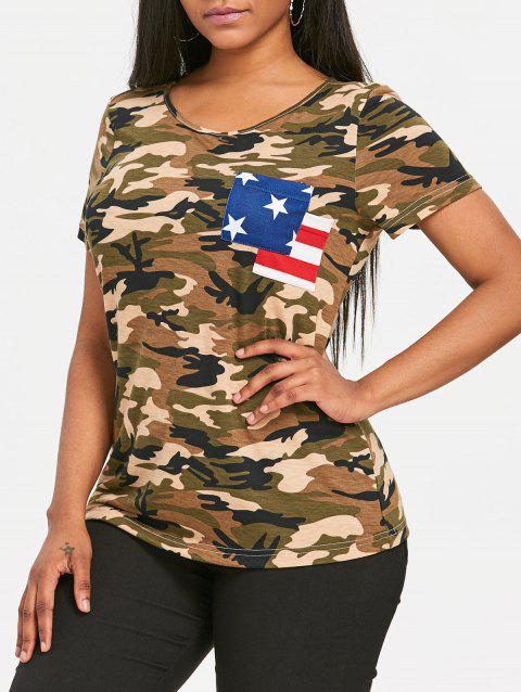 Camouflage American Flag Pocket T-shirt - ACU CAMOUFLAGE 2XL