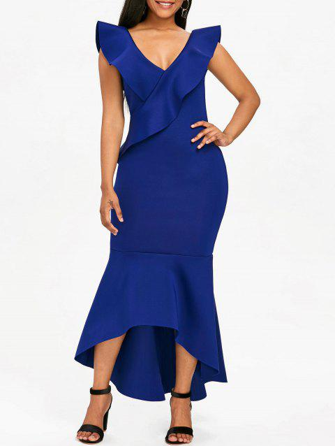 Plunge Ruffle Insert Mermaid Dress - ROYAL BLUE XL